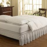 EASY FIT Eyelet Wrap Around Easy On/Off Dust Ruffle 18-Inch Drop Bedskirt, Twin/Full, WHITE