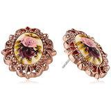 "1928 Jewelry ""Victorian Revival"" Golden Rose Stud Earrings"