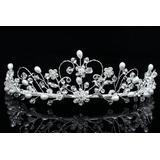 Handmade Rhinestone Crystal Flower Pearl Prom Bridal Wedding Tiara Crown