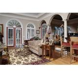 """Kas 7312 Cambridge 7' 7"""" by 10' 10"""" Rug, Ivory/Red Kashan"""