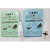 Cory Super High Gloss Piano Polish Detailing Kit - 2 Ounce Bottles w/Microfiber Cleaning and Polishing Cloths