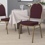 Flash Furniture HERCULES Series Dome Back Stacking Banquet Chair in Burgundy Patterned Fabric - Gold Frame