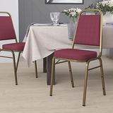 Flash Furniture HERCULES Series Trapezoidal Back Stacking Banquet Chair in Burgundy Patterned Fabric - Gold Frame