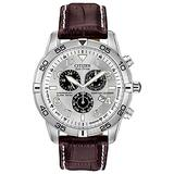 Citizen Eco-Drive Brycen Chronograph Mens Watch, Stainless Steel with Leather strap, Weekender, Brown (Model: BL5470-06A)