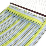 Best Choice Products Quilted Double Hammock w/ Detachable Pillow, Spreader Bar - Blue and Green Stripe