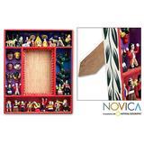 Wood photo frame, 'Little Carnival' (4x6) - Folk Art Wood Photo Frame