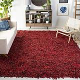 "Safavieh Leather Shag Collection LSG511D Hand-Knotted Modern Leather Accent Rug, 2'3"" x 4', Red"