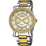Akribos XXIV Men's 'Ultimate' Swiss Diamond Watch - Krysterna Crystals on Bezel - 2 Subdials for Day and Date On Stainless Steel Link Bracelet - AK465