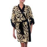 Silk robe, 'Golden Dusk' - Women's Short Silk Robe