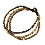 Brass beaded bracelet, 'Family' - Handcrafted Brass Beaded Bracelet