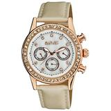 August Steiner Women's Multifunction Crystal Watch - Sparkling Crystals On Bezel and Hour Markers On White Genuine Leather Strap - AS8018