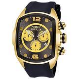 Invicta Mens Lupah Revolution Chronograph Gold Tone Case Black Polyurethane Strap Watch 10067