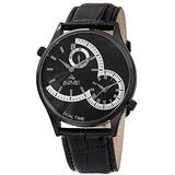 August Steiner Men's Unique Shaped Dual Time Zone Men's Watch - On a Genuine Embossed Alligator Leather Strap - AS8010