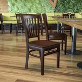 Flash Furniture HERCULES Series Vertical Slat Back Walnut Wood Restaurant Chair