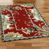 """Rooster and Hens Rectangle Rug, 5'3"""" x 8'3"""", Burgundy"""