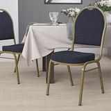 Flash Furniture HERCULES Series Dome Back Stacking Banquet Chair in Navy Patterned Fabric - Gold Frame