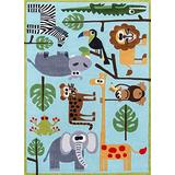 Momeni Rugs Lil' Mo Whimsy Collection, Kids Themed Hand Carved & Tufted Area Rug, 4' x 6', Multicolor Jungle Animals on Blue