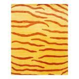 Herat Oriental Animal Print Handmade Tufted Wool Area Rug Wool in Yellow, Size 120.0 H x 96.0 W x 0.5 D in   Wayfair WF-TZ6810