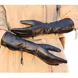 WARMEN Luxury Gift Women Genuine Nappa soft Leather lined long elbow Gloves (M, Black)