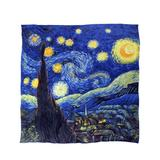 "Dahlia Women's 100% Luxury Square Silk Scarf - Van Gogh""Starry Night"""
