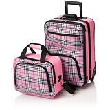 Rockland Fashion Softside Upright Luggage Set, Pink Cross, 2-Piece (14/19)