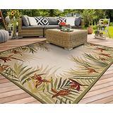 "Couristan 21291021026086U Tropic Gardens Area Rug, 7'10"", Sand"