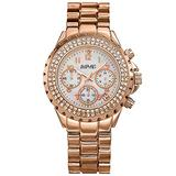 August Steiner Women's Chronograph Crystal Watch - Double Row of Genuine Crystals on Bezel - 3 Subdials with Date Window with Mother-of-Pearl Dial On Bracelet Watch - AS8031