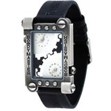 BodyMaster #BM14-1 Men's Time Machine Distressed Dual Time Zone Black Leather Band Watch