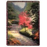 Manual Woodworkers & Weavers Afternoon Light Dogwood Tapestry Cotton Throw Cotton in Green/Red/Yellow, Size 60.0 H x 50.0 W in | Wayfair ATALD