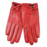 ELMA Supple Nappa Leather Silk Lined Gloves with Leather Bow Gold Plated Logo (L, Red)
