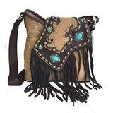 Turquoise and Fringe Western Crossbody Bag - Tan
