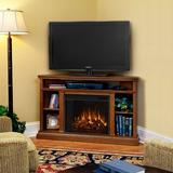"""Real Flame Churchill TV Stand for TVs up to 50"""" w/ Electric & Fireplace Included Wood in Brown, Size 33.125 H x 50.75 W x 30.5 D in 