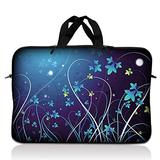 """Laptop Skin Shop 16"""" - 17.4"""" Neoprene Laptop Sleeve Bag Carrying Case with Handle - Blue Swirl Mid Summer Night Floral"""