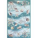 "KAS Oriental Rugs Sonesta Collection Shells Area Rug, 20"" x 30"", Seafoam"