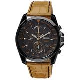 Seiko Chronograph Black Dial Black PVD Tan Leather Mens Watch SNDD69