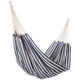 NOVICA Navy Blue White Striped Cotton Fabric 1 Person Brazilian Style Hammock, 'Maritime Brazil' (Single)