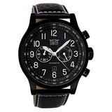 Davis Men's 0452 Black Aviator 48mm Waterresist 50M Chronograph Black Leather Strap Watch