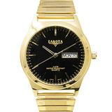Dakota Easy to Read Unisex 35mm Large Face Day/Date Twist Stainless Steel Expansion Stretch Band Water Resistant Watch (Gold with Black Stick Dial) (Model: 46177)
