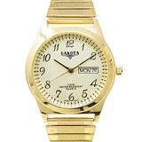 Dakota Easy to Read Unisex 35mm Large Face Day/Date Twist Stainless Steel Expansion Stretch Band Water Resistant Watch (Gold with Champagne Arabic Dial, 46168)