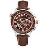 Nautica Men's Watch A25014G with Brown Dial and Brown Leather Strap