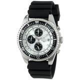 Sartego Men's SPC45-R Ocean Master Chronograph Analog Silver Face Dial Black Rubber Watch
