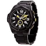 Jorg Gray   Black Stainless Steel Chronograph Watch with Stainless Steel Band   JG9100-11   Black w/Yellow Dial