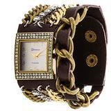 Geneva Platinum 12956612 Women's Rhinestone Studded and Chain Simulated Leather Watch- BROWN