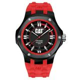 CAT WATCHES Men's A116128128 Navigo Date Black and Red Analog Dial Red Rubber Strap Watch