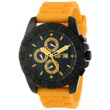 CAT WATCHES Men's PN16920124 DPS Multi-Function Black and Yellow Analog Dial Black Rubber Strap Watch