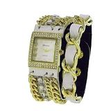 Geneva Platinum 12956612 Women's Rhinestone Studded and Chain Simulated Leather Watch-WHITE/GOLD
