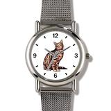 Brown or Tan Tabby Cat - WATCHBUDDY ELITE Chrome-Plated Metal Alloy Watch with Metal Mesh Strap-Size-Large ( Men's Size or Jumbo Women's Size )