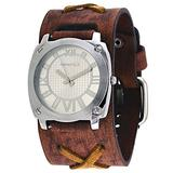 Nemesis BFXB066S Men's Brown Wide Leather Cuff Band Silver Dial Watch