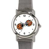 Two Lady Bugs Kissing (Lady Bug or Lady Bird) - Ladybug - JP Animal - WATCHBUDDY Elite Chrome-Plated Metal Alloy Watch with Metal Mesh Strap-Size-Large (Men's Size or Jumbo Women's Size)