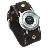 Nemesis #BBC094S Men's Wide Brown Leather Cuff Band Silver/Black Dial Watch